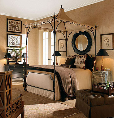 Modern-beige-bed-canopy-with-black-construction
